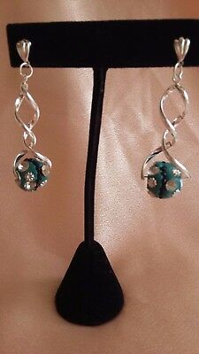 UK Hand-Made Unusual Silver-Plated Double Twisted Dangle Teal Beads Earrings