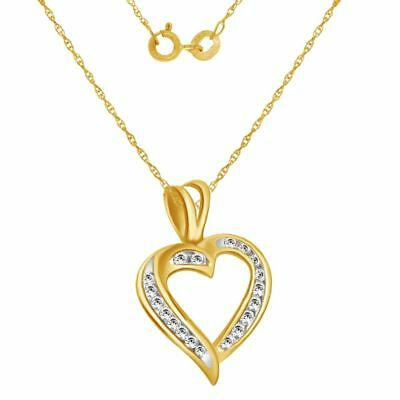 Cubic Zirconia Heart Pendant Chain 14k Yellow Gold Over Sterling Valentine Gifts