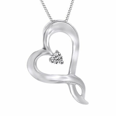 Holiday Sale 0.03Ct Round Real Diamond Heart Pendant 14K Gold Over Sterling