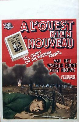 All Quiet On The Western Front Original Vintage Belgian Film Poster Wwi