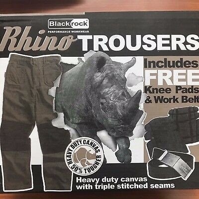 Rhino Hard wearing thick Work Trousers Cargo Style with Knee Pad and Belt