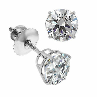 Simulated Diamond Solitaire Screw Back Stud Earrings 14K White Gold - 1.00 Ct