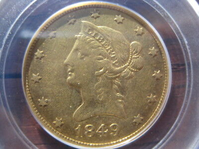 """1849 Gold Liberty Head $10.00 Eagle VF-35 Graded by PCGS """"Gold Rush Year"""""""