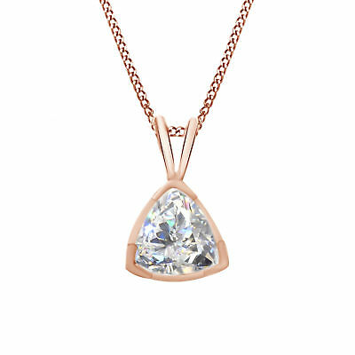 Cubic Zirconia Solitaire Pendant Necklace w/Chain 14K Rose Gold