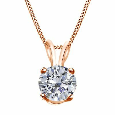 Cubic Zirconia Solitaire Pendant Necklace w/Chain 14K Rose Gold - 1.50 Cttw