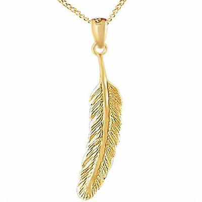 """Feather Charm Pendant w/18"""" Chain 14k Yellow Gold Over Sterling Silver"""