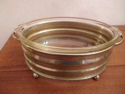 Vintage Silverplated And Phoenix Glass  Hot Serving Dish And Stand