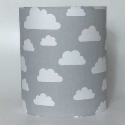 White and Grey Clouds Medium Fabric Light Shade