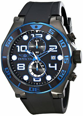 Invicta Men's 17816 Pro Diver Chronograph 50mm Black Dial Black Rubber Watch