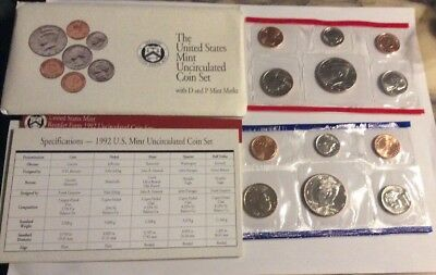United States Mint 1992 Uncirculated Coin Set D & P