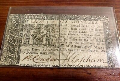 March 1 1770 Maryland Continental Currency Six Dollars