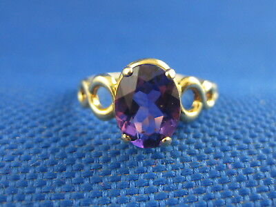 Vintage 10K Yellow Gold Amethyst Ring Size 4 1/2