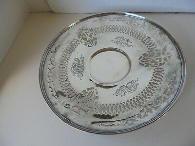 Antique Sterling Silver Footed Reticulated Pastry Plate Engraved 1891-1916