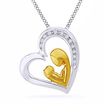 Real Diamond Heart Pendant W/Chain 14k Two Tone Gold Over Sterling Silver