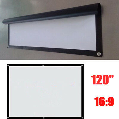 """120"""" 16:9 Manual Pull Down Projector Projection Screen Home Theater Party Movie"""