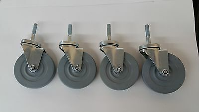 "NEW (4) 5"" Threaded Stem Casters Grey Non-Marking Wheels W/ Double Ball Bearings"