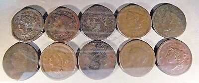 U.S. Large Cents Lot of 10 Coins Lower Grade or Damaged ** Free U.S. Shipping **