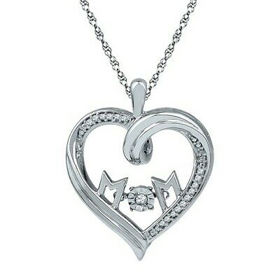 0.10 Cttw Real Diamond Mom Heart Pendant 14k Gold Over Sterling Silver