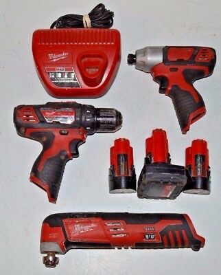 """Milwaukee Cordless Multi Tool 1/4"""" Hex Impact & 3/8"""" Drill + Charger & Batteries"""