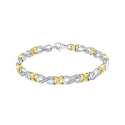 1/5ct Natural Diamond 7 Infinity Bracelet in Sterling Silver and 10K Yellow Gold