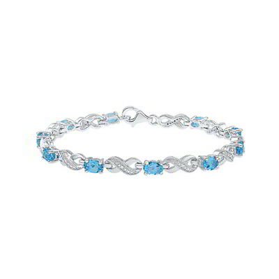 "Blue Topaz and Natural Diamond 7 1/4"" Fashion Bracelet in Sterling Silver"