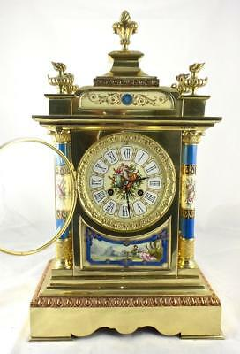 Antique French 19th c brass & Sevres porcelain mantle clock by Archilles Brocot