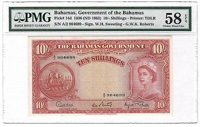 1963 Bahamas 10 Shillings, Choice aUNC PMG 58 EPQ, P-14d Roberts Sig, Final Year