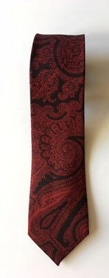 Vintage LIBERTY OF LONDON 1960s Mens Skinny Silk Neck Tie Deep Red Black Paisley