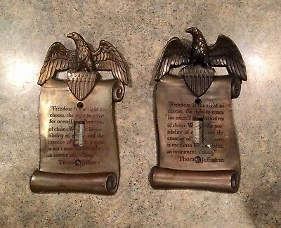 2 Vintage Brass Eagle Switch Plate Covers w/ Jefferson Quote 3036 - GIM M.C. CO.