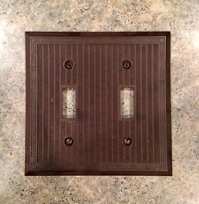 Vintage Art Deco Design Brown Bakelite Double Light Switch Plate Cover