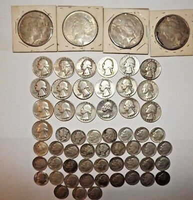 (60) Silver Coins Lot = All 90% Silver = Peace Dollars, Quarters, Dimes