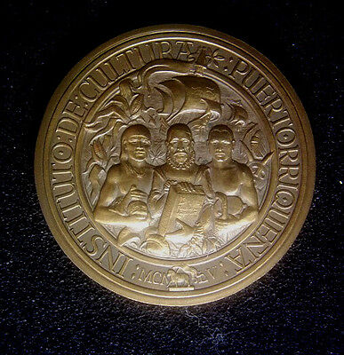 1975 20th Anniversary Institute of Puerto Rico Culture medal + poster