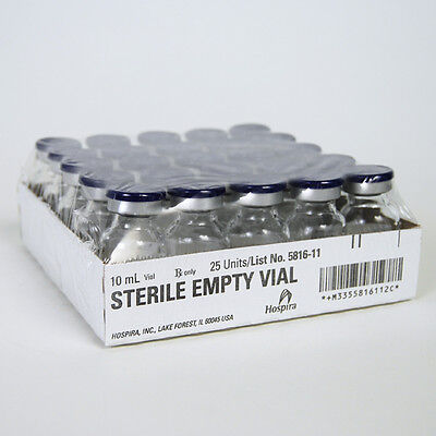 25 x Clear 10 ml Depyrogenated and Sterile Vials.UK Stock, Free P&P. Mix HCG Etc
