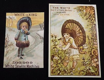 2 White Sewing Machine Trade Cards    #111613