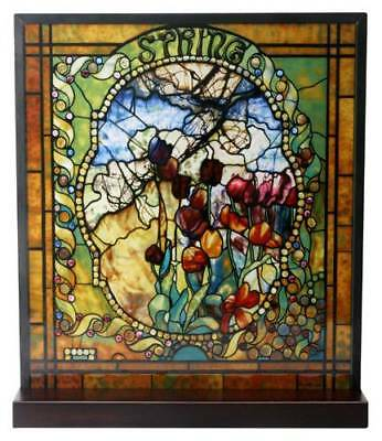 """Tiffany Style The Four Seasons """"SPRING"""" Stained Art Glass Window Panel Display"""