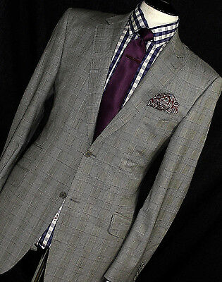 Mens Canali Italian Sartorial Tailor-Made Prince Of Wales Suit 42R W36 X L32