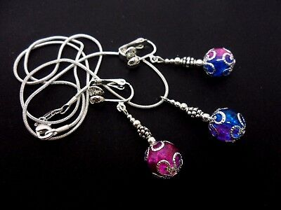 A Pink/blue Crackle  Glass Bead Necklace And Clip On Earring Set. New.