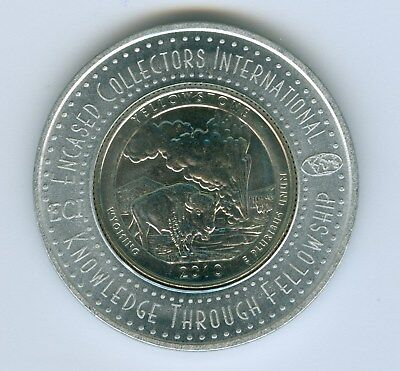 Encased By Collectors International Uncirculat 2010 D Yelloestone Parks. Quarter