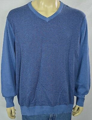 NWT Tasso Elba Blue Slant Striped Light Sweater Men's Sz XL V-Neck Cotton