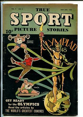 TRUE SPORT PICTURE STORIES VOL 4 #4-11/1947-BOB POWELL COVER-FOOTBALL PLAYS-vg