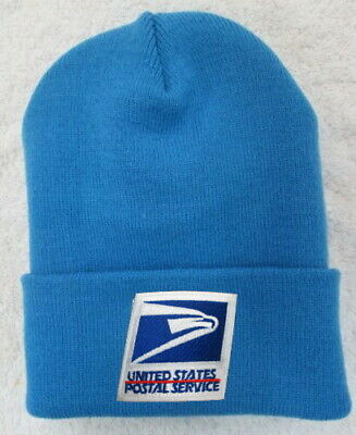 Usps United States Postal Service Light Blue Beanie Hat Cap