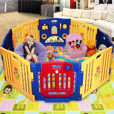 Costway 8 Panel Plastic Baby Playpen with Activity panel Foldable Baby Kids Play