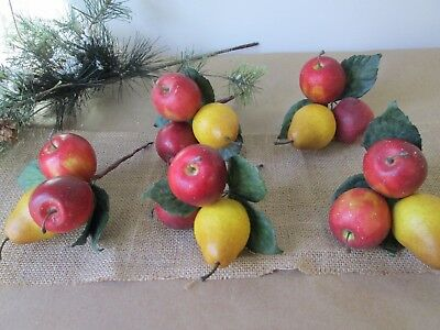 "5 Realistic Artificial Christmas Fruit Colonial Williamsburg Sprigs w/2-3"" fruit"