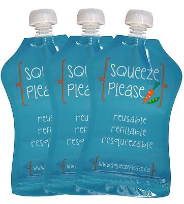 Squeeze Please Reusable Food Pouches for Toddlers, Pre-Schoolers, and Babies of