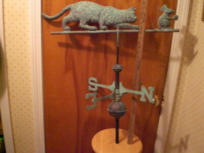 Antique-Weather-Vane-Connecticut-Barn-Find-Real-Copper-75-Years-Old-Farm-Cat  An