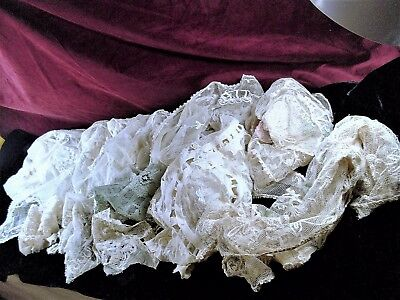 10 ITEM LOT OF ANTIQUE VICTORIAN LACE***Luxurious, Delicate & Gorgeous***RARE