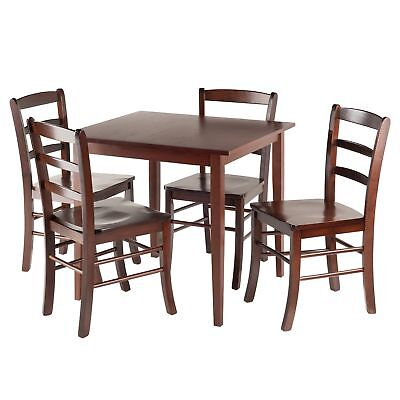 Winsome Groveland Square Dining Table with 4 chairs 5-Piece Antique Walnut New