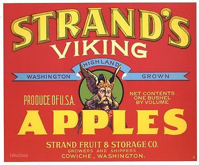 STRAND'S VIKING Brand, Cowiche, Washington, Red *AN ORIGINAL APPLE FRUIT LABEL*
