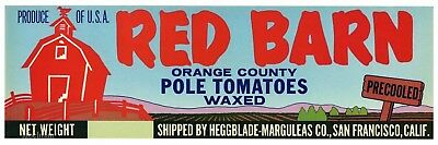 RED BARN Brand, Pole Tomatoes *AN ORIGINAL PRODUCE CRATE LABEL*