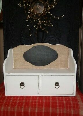 Shabby Chic Wood Shelf 2 Drawer Cabinet Distressed Burlap Back w/Chalkboard